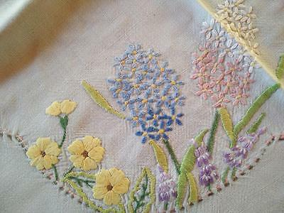 SPRING FLOWERS ~ Blue Linen & Blue Crochet edge ~ Hand Embroidered Tablecloth
