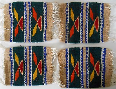 """4 Zapotec Indian 100% WOOL Rugs & Coaster 5"""" x 5"""" hand made 2000 yr old heritage"""