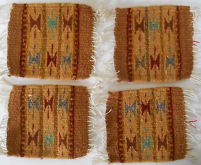"4 Zapotec Indian 100% WOOL Rugs & Coaster 5"" x 5"" hand made 2000 yr old heritage"