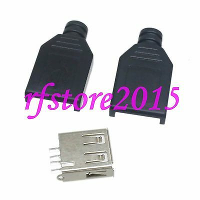 5pcs Connector USB 2.0 Female plug solder for cable with black Plastic Shell
