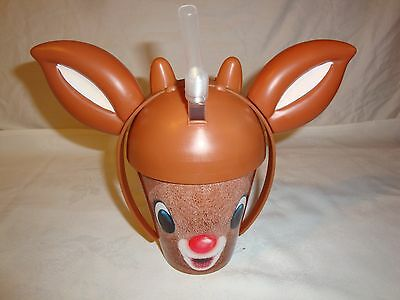 """DENNY'S Drinking Cup KIDS Rudolph 3D Reindeer 9"""" EARS Straw"""