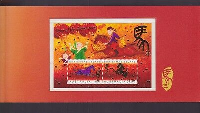 2002 Year Horse Christmas Island Stamp Miniature sheet in folder Lunar Zodiac