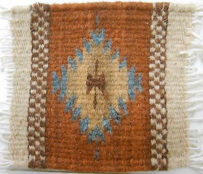 """Zapotec Indian 100% WOOL Rug & Coaster 5"""" x 5"""" hand made 2000 year old heritage"""