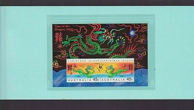2000 Year Dragon Christmas Island Stamp Miniature sheet in folder Lunar Zodiac
