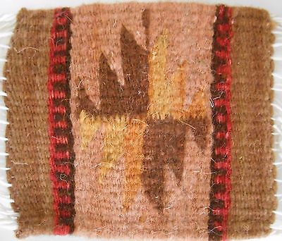 "Zapotec Indian 100% WOOL Rug & Coaster 5"" x 5"" hand made 2000 year old heritage"