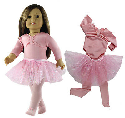"Doll Clothes for 18"" American Girl Doll Handmade 3 PCS Pink Ballet Dress"