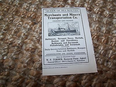 c1905 vintage magazine ad Merchants and Miners Transportation Co. ~3 X 4.75 in.