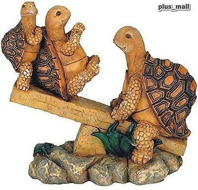 Garden figure Statue 3 Turtles On Seesaw Yard Decor crafted poly resin
