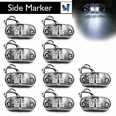 """10X 2.5"""" Oval Clearance White LED Lamp 2 Diode Trailer Truck Side Marker Light"""