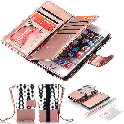 Luxury Wallet Case Flip PU Leather Removable Magnetic Cover For iPhone 6S 7 Plus