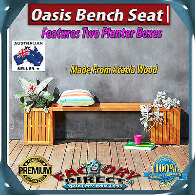 New! Oasis Bench Seat with Planter Boxes Acacia Wood Outdoor Entertainment!