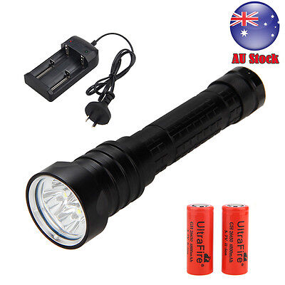 Diving Dive 20000LM 4x XML L2 LED Underwater 200M Flashlight Torch Light 2*26650