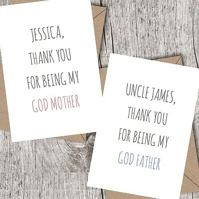 Personalised God Mother/God Father Thank You Card - God Parent