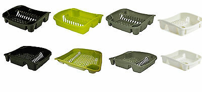 Whitefurze Plastic Dish Drying Drainer Plate and Cutlery Rack Sink Tidy UK Made
