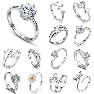Women Lady Brand Crystal Jewelry White 925 Sterling Silver Filled Wedding Ring