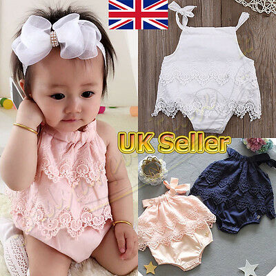 Summer Newborn Toddler Baby Girl Clothes Lace Floral Romper Bodysuit Outfits UK