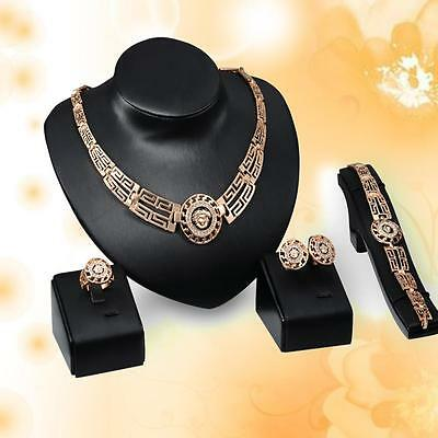 KC Gold Plated Indian Style Jewelry Set Rhinestone Necklace Earrings Bangle YY