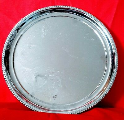 Vinatge Silver Plate Serving Tray - Approx Diameter 12""