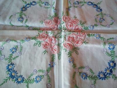 """Pink Mackintosh Rose  ~ Vintage Hand Embroidered Tablecloth 41+"""" x 42+"""""""