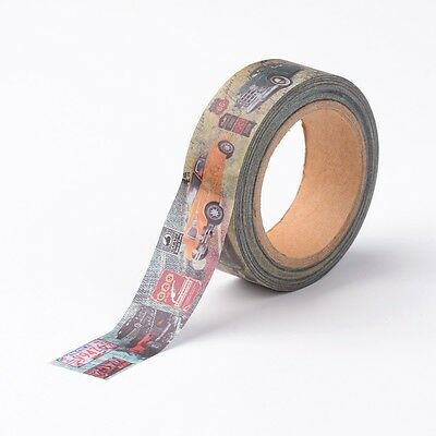 15mm DIY Decorative Paper Single Side Adhesive Tape with Car Prints Colorful