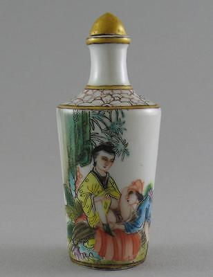 Vintage 20thC Republic Chinese Porcelain Erotic Snuff Bottle Hongxian Mark (A)