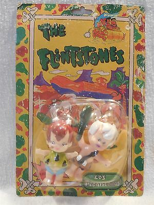 Flintstones Los Picapiedras Hard Rubber Figures on Card Mexico Pebbles Bamm-Bamm