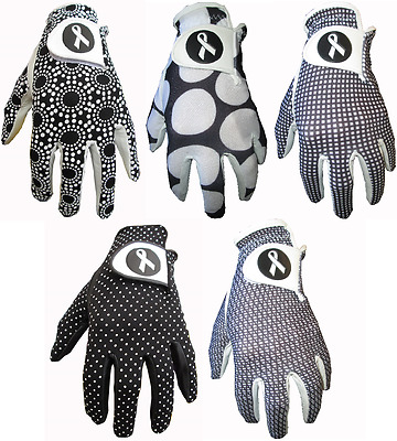 5 Ladies Black & White Cabretta Leather Golf Gloves 4 Small Medium Large