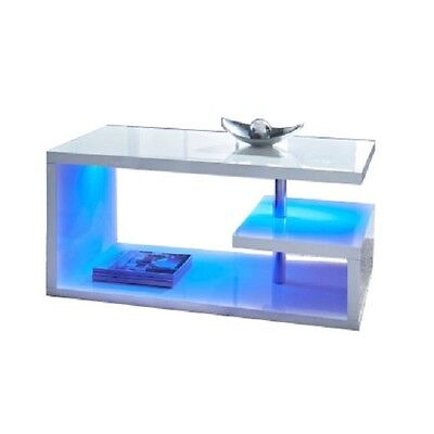 Luxury Modern Design White High Gloss Coffee Table With Blue Led Lights