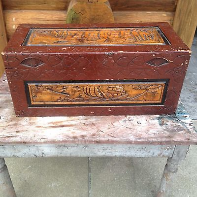 Antique Vintage Hand Carved Asian Camphor Trunk Chest Furniture Ships Boats Sail