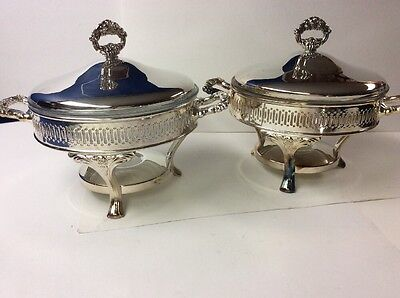 Lot Of 2 Oneida Silverplated Chafing Dish Food Buffet Warmer Stand Large Vintage