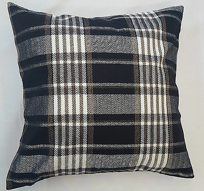 Black Cream Mix Tartan Check  Luxury Cushion Cover Carlyle Design £5.95 Each