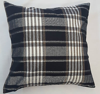 Black Tartan Check Thick Heavy Cushion Cover Carlyle Design £5.95 Free Postage