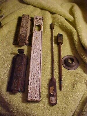 Antique Cast Iron Victorian Eastlake Style Door Lock Plate Parts Hardware