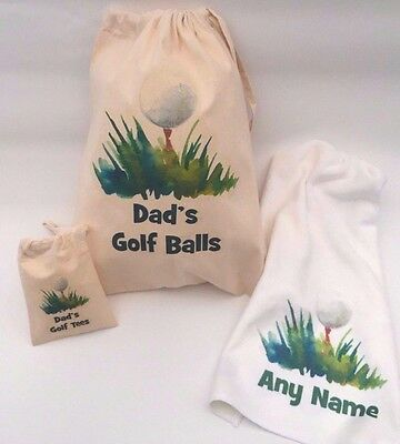 Personalised Golf Ball Bag, Tee Bag, towel - Father's Day Gift, birthday