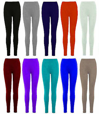 Girls Kids Leggings Plain Viscose Full Length Dance Stretchy Child Teens 2-13 yr