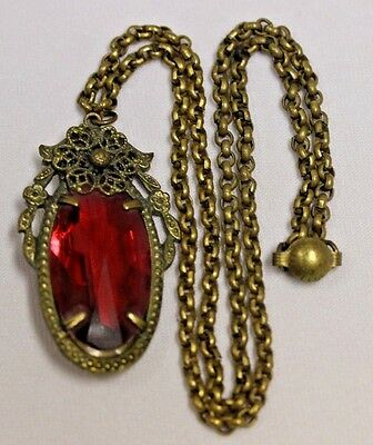 Vintage Antique Victorian  Gold Tone Red Jewel Pendant Chain Necklace
