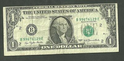 Series 1977 One Dollar Federal Reserve Note Error Shift On Obverse Currency