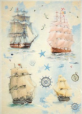 Rice Paper for Decoupage Decopatch Scrapbook Craft Sheet Vintage Sailboats