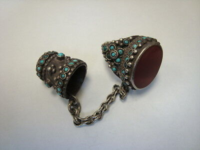 antique silver Turkoman Sewing Ring, carnelian with thimble 52 grams, turquoise