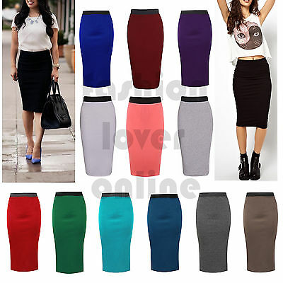 Womens Ladies Stretch Bodycon Midi Office High Waist Pencil Plus Size Skirt UK