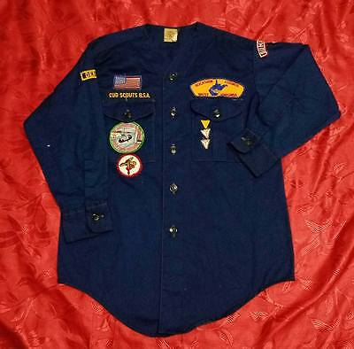 """Q287 Vintage OFFICIAL BSA BOY SCOUTS OF AMERICA Uniform shirts L/S YOUTH MED 36"""""""