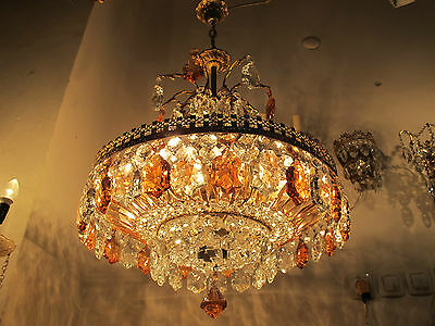Antique French LARGE Bohemia Glass Crystal Chandelier Lamp 1940's 20in dmtr RARE