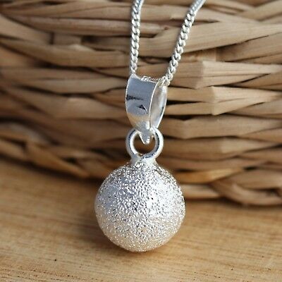 Solid 925 Sterling Silver 10mm Sand Ball Pendant Charm Chain Necklace Jewellery