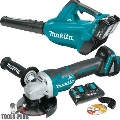 18V X2 LXT Li-Ion Brushless Cordless Blower + Angle Grinder Makita XBU02PTX1 New