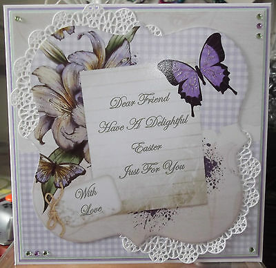 Handmade Personalised Friend Easter Card A Lily Flower & Butterfly Frame Design