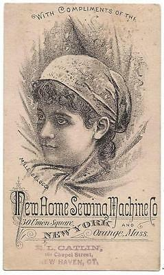 New Home Sewing Machine Trade Card - Mille Belocoa - E.L. Catlin, New Haven, CT