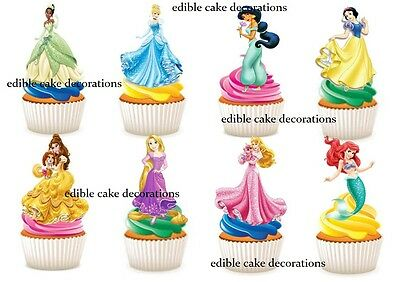 30 Disney Princess STAND UP Cupcake Fairy Cake Topper Edible Decorations Paper