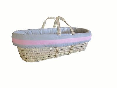 Baby Doll Bedding Zuma Moses Basket Set Grey/Pink 2-Day Delivery