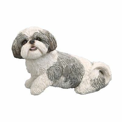 Sandicast Mid Size Silver and White Shih Tzu Sculpture, Sitting 2 Day Shipping