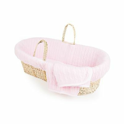 Tadpoles Cable Knit Moses Basket and Bedding Set Pink NO TAX